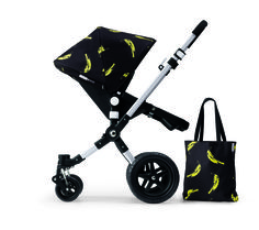 The Andy Warhol + Bugaboo Banana Collection consists of a sun canopy and matching tote bag.