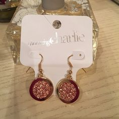 """Charming Charlie coral crystal and gold dangles Charming Charlie coral crystal and gold dangle earrings. 2cm round """"gold"""" discs with coral colored crystals on front & back. Clear backings. Never worn. Charming Charlie Jewelry Earrings"""