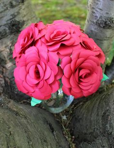 One Dozen 12 Paper Roses  Weddings by EverBloomsFlowers on Etsy, $75.00