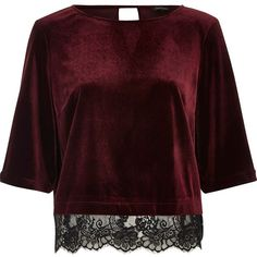 River Island Dark red velvet lace hem top ($50) ❤ liked on Polyvore featuring tops, red, red lace top, red top, velvet top, round neck top and lacy tops