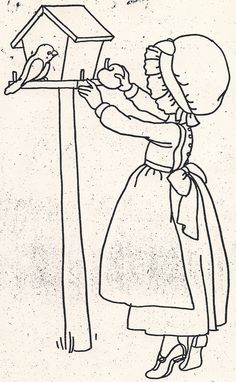 Embroidery Pattern of Girl Giving Apple to Bird. Hand Embroidery Patterns, Vintage Embroidery, Embroidery Applique, Embroidery Stitches, Quilt Patterns, Embroidery Designs, Patch Quilt, Applique Quilts, Coloring Book Pages