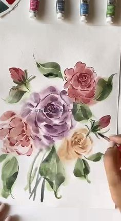 Learn to paint watercolour florals in my skillshare classes in real time, follow the link to watch for free :) Music : She's the Moon, Musician : Carl Storm Watercolor Art Lessons, Watercolor Painting Techniques, Watercolor Paintings, Watercolors, Watercolor Flowers Tutorial, Floral Watercolor, Painting Gallery, Flower Art, English Roses