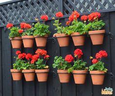 Inspiração de jardim vertical feita com suportes específicos.