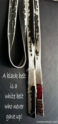 BJJ... This pic is a great illustration of the belt returning to white, showing a return to purity. This is the purpose of the progression of the belt colors in BJJ