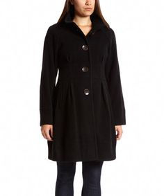 Another great find on #zulily! Black Princess Seam Wool-Blend Coat by Black Rivet #zulilyfinds