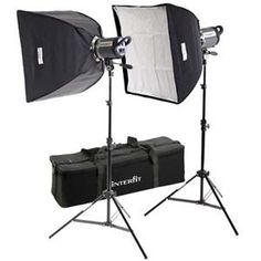 Interfit Photographic INT461 Stellar XD Twin Softbox Kit, with Two 600 Watt Second Monolights, Softboxes, Lightstands & Case