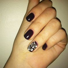 DIY Nail Art: Rhinestones. Love the look of differently-shaped stones on the nail!