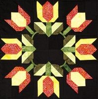 """Tulip Block 3 from Out Of The Darkness/A New Beginning Block-Of-The-Month by Pam Bono - 18"""" finished (website gone - designer deceased)"""