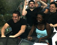 """There is nothing I don't love in this photo. Perfect! Trent Reznor and Rob Sheridan """"enjoying"""" a roller coaster."""