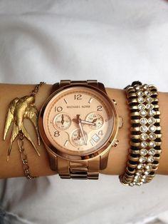 Michael Kors watch and swallow bracelet
