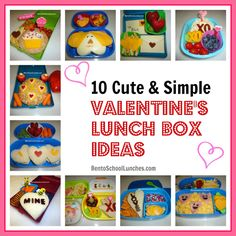Bento Lunch: 10 Cute and Simple Valentine's Lunch Box Ideas. #Valentines #lunchbox #bento www.facebook.com/BentoSchoolLunches