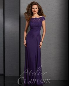 Purple modest lace short sleeve long mother of the bride dress. Available in plus sizes! | Promgirl.net
