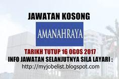 Jawatan Kosong di Amanah Raya Berhad (ARB) - 16 Ogos 2017  Jawatan kosong terkini di Amanah Raya Berhad (ARB)Ogos 2017. Permohonan adalah dipelawa daripada warganegara Malaysia yang berkelayakan untuk mengisi kekosongan jawatan kosong terkini di Amanah Raya Berhad (ARB)sebagai :1. ASSISTANT MANAGERTarikh tutup permohonan 16 Ogos 2017 Lokasi : Kuala Lumpur Sektor : Berkanun  Interested candidates are invited to apply via EMAIL by submitting the COMPLETE resume together with current and…