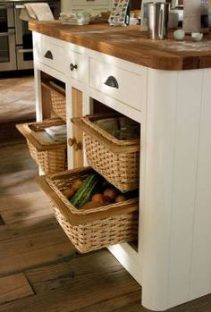 Drawer-Line Wicker Basket Base Units.  Alternative to Toe Kicks?