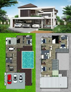 3 Car Garage Two Story House Design With 4 Bedrooms Two Zen House Design, 3 Storey House Design, Two Story House Design, Two Storey House Plans, Simple House Design, Pool House Plans, Dream House Plans, Philippines House Design, Philippine Houses