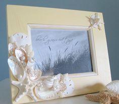 Beach Seashell Frame  Nautical Home Decor by beachgrasscottage, $40.00