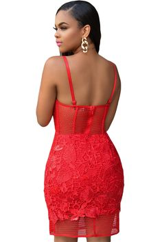 Party Stage Dance Wear Dress LOVIW FASHION Red Lace Sleeveless Spaghetti Strap Padded Bridal Party Stage Dance Wear Dress