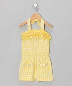 Take a look at this Yellow Plaid Romper - Infant, Toddler & Girls on zulily today!