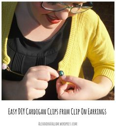 Turning clip on earrings into a cardigan clip with a reusable chain