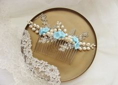 Pearl Bridal Comb Blue & Ivory Flower Bridal Hair by TanneDesign