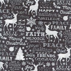 Quilting Holiday/Christmas By the Yard Cotton Fabric Christmas Words, Christmas Holidays, Timeless Treasures Fabric, Deck The Halls, Black Quilt, Mistletoe, Snowflakes, Cotton Fabric, Merry