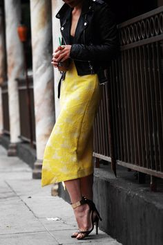 midi skirt with a tiny top,biker jacket,subtle shoe