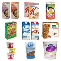 Healthy and/or organic packaged foods to always keep on the grocery list; mainly quick breakfast things, but also snacks!