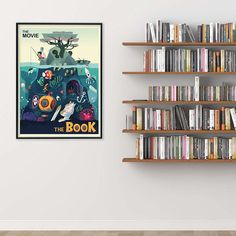 The Movie vs The Book Original Literary Art Print. Fine Art Paper, Laminated, or Framed. Multiple Sizes for Home, Office, or School. Large Prints, Fine Art Prints, Literary Elements, Literary Gifts, Book Posters, Nautical Art, Day Book, First Art, Book Lovers Gifts