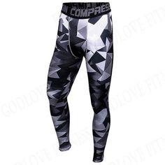Mens Compression Pants 3D Print Splice Quick Dry Skinny Bodysuit Leggings Tights Jogger MMA Brand Clothing Joggers Trousers Men