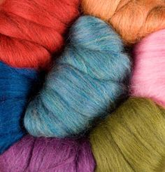 Wool of the Andes Roving - to learn spinning with. Colors: hot rod heather, amethyst heather, dill heather, merlot heather, aurora heather