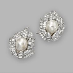 Pair of baroque cultured pearl and diamond earclips, David Webb | Sotheby's