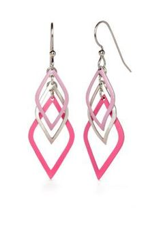 Silver Forest  Pink and Silver-Tone Cascading Drop Earrings