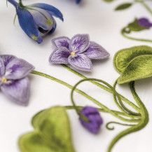 Sweet Violets by Susan Porter of Australia ~ embroidery kit from Inspirations 82 Hand Embroidery Stitches, Silk Ribbon Embroidery, Embroidery Techniques, Floral Embroidery, Embroidery Patterns, Vintage Jewelry Crafts, Sweet Violets, Brazilian Embroidery, Quilted Wall Hangings
