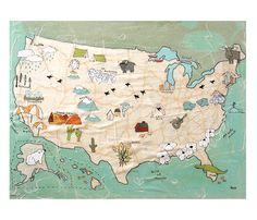 "USA Poster by Rachel Ann Austin  //  ""Archival print on premium matte paper. A sweet and simple USA map with everything from rain clouds to moose to tornadoes. Perfect for the little ones or map lovers in your life. The print is unframed and comes in a clear print bag and backed with stiff foaamcore.    Image size fits perfectly in a 11 x 14 standard frame"""