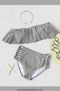 $9.99 Grey Strapless Ladder Cutout High Waist Ruffle Bikini Set. Fashionable swimsuits for summer and spring break. Trendy selections of stylish swimwear online. There are sexy, cute, boho, tribal, casual bathing suits with different prints in solid color, bikini's, tanks, tankini's, Suits for those who are modest, curvy, sporty, moms, or teens, they have flattering swimsuits for any body shape. #bikini, #swimsuits, #tankini, #onepiece, #summerfun, #affiliate, #summerfashion, #fashion