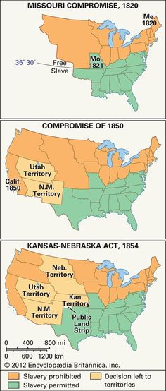 Map Illustrating The Missouri Compromise Of 1820 Under Terms - Us Map 1820