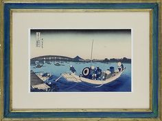 """(JAPAN) KATSUSHIKA HOKUSAI Katsushika Hokusai (1760-1849) Japanese. Fine reprint from the series thirty six views of Mt. Fuji or Fugaku Sanjujrokkei Number 12 """"Sunset across the Ryogoku bridge from the bank of the Sumida River at Onmayagashi"""". Mid 20th century reprint of the Edo period original dating to 1830-1, an Oban sized woodblock print, ink and color on paper. One of the few """"azuri"""" or blue prints of the series depicting a ferry boat crossing the Sumida river with a view of the…"""