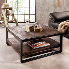 Couchtisch industrial chic Holz und Eisen, Design, Antiktisch mit Ablage, TOP