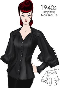 1940s inspired Nior Blouse by Amber Middaugh  This design Won and will be produced and sold by Chicstar.com!