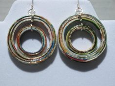 Handmade Double Hoop Recycled Magazine Earrings
