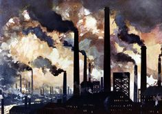 'Factory Chimneys in Sheffield' Painting Borough Wharf Format: Wrapped Canvas, Size: cm H x 100 cm W x cm D Industrial Paintings, Drawings, Painting, Poster Art, Art, Watercolor Drawing, Industrial Art, Giclee Print, Revolution Art
