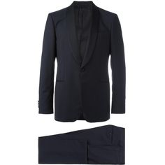 Salvatore Ferragamo Smoking Suit ($1,472) ❤ liked on Polyvore featuring men's fashion, men's clothing, men's suits, mens navy blue suit, mens wool suits, mens navy suit and old navy mens clothing