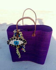 big straw bag /big beach bag/handmade bag/pom pom bag/boho bag big size bag purple by aeliasandals on Etsy