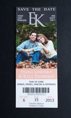 Save the Date - Photo Sports Ticket - Monogram - Slate Gray/Coral