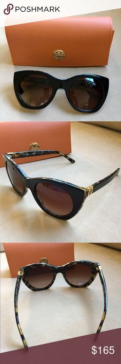 Tory Burch Sunglasses Brand new - bought them yesterday (see receipt) but can't return them because I took the tag off.  Got them home and they just don't fit my face.  Dark brown/Black cat eye style with tortoise detailing.  These are new for spring.  No trades. Tory Burch Accessories Sunglasses