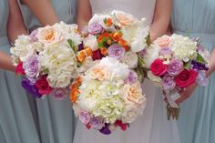 Whimsical bridal and bridesmaids bouquet with roses and hydrangeas #sunpetalsflorist