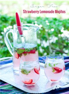These refreshing and delicious low carb strawberry lemonade mojitos are perfect for your end of summer party!