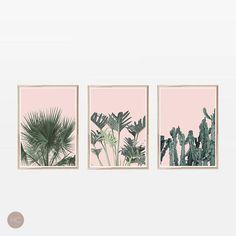 Set of 3 Prints,Blush Pink,Tropical Prints,Large Wall Art,Printable Art,Wall Prints,Art Prints,Cactus Print,Palm Print,Palm Leaf Print,Palm #wallart #wallprints #walldecor #homedecor #roomdecor
