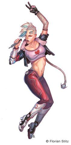 ArtStation - Kiki Valentine, Cyberpunk Rockstar, Florian Stitz