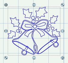 Christmas Bells with Holly in SVG, Scut and Image